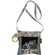 """Spotted Cats - Crossbody Tote Zipper Top 10""""X10"""" W/25"""" Strap"""