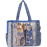 "Autumn Felines - Shoulder Tote Zipper Top 21""X6.5""X15"""