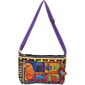 "Dog Tails Patchwork - Medium Crossbody Zipper Top 15""X10"""