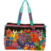 Fantasticats - Travel Bag Zipper Top 21 X8 X16  LAUREL BURCH-Travel Bag Zipper Top: Fantasticats. The brilliant hues and wonderful patterns of these carefully designed totes appeal to everyone. They are artful and useful at the same time! This package contains one 16x21 inch zipped bag, three inside pockets (one cell phone pouch, one with a zipper, one with Velcro) and two twenty-five inch handles. Imported.