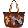 Native Horses - Shoulder Tote Zipper Top 23.5 X5.5 X15.25  LAUREL BURCH-Shoulder Tote Zipper Top: Native Horses. The brilliant hues and wonderful patterns of these carefully designed totes appeal to everyone. They are artful and useful at the same time! This package contains one 14x22 inch zipped bag, three inside pockets (one cell phone pouch, one with a zipper, one with Velcro) and two twenty-seven inch handles. Imported.