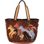 """Native Horses - Shoulder Tote Zipper Top 23.5""""X5.5""""X15.25"""""""