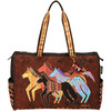 Native Horses - Travel Bag Zipper Top 20.5 X8.25 X16  LAUREL BURCH-Travel Bag Zipper Top: Native Horses. The brilliant hues and wonderful patterns of these carefully designed totes appeal to everyone. They are artful and useful at the same time! This package contains one 15x23 inch zipped bag, three inside pockets (one cell phone pouch, one with a zipper, one with Velcro), two side pockets on outside of bag and two twenty-seven inch handles. Imported.