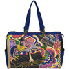 Carlotta's Cats - Travel Bag 21 X8 X15  Laurel Burch-Travel Bag: Carlotta's Cats. The brilliant hues and wonderful patterns of these carefully designed bags appeal to everyone. They are artful and useful at the same time! This 15x21x8 inch travel bag features two 24 inch straps, one large zipper compartment, one cell phone pocket, one open pocket and one inside zipper pocket. Do not wash-spot clean only. Imported.