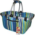 JanetBasket Large Aluminum Frame Basket- Blue Stripes