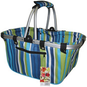 JanetBasket Large Aluminum Frame Basket- Blue Stripes