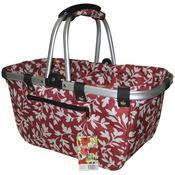 """18""""X10""""X9.5"""" Red Floral - JanetBasket Large Aluminum Frame Basket"""