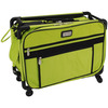20 X13 X9  Lime - TUTTO Machine On Wheels Case TUTTO-Machine On Wheels Case. The most compact versatile and fun carry-on. Ideal in any situation: Use as a luggage carrier, brief case, computer bag, hand cart, overnight bag and more. Includes a label for name, address and contact information when you travel. This bag features Ballistic Nylon construction, removable telescopic pull bar, strong frame, mesh pockets for your fabrics, two inside straps to store a sewing machine, top and front openings for easy access and versatile pockets to keep all your sewing tools organized, turns on a dime, easy to lift, light and easy to pull, stacks up to 150 pounds, folds to 3in for storage and it fits under most airplane seats! Overall measurements 20x13x9 inches. Available in a variety of colors  Imported.