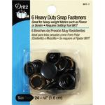 """Black - Heavy-Duty Snap Fasteners 5/8"""" 6/Pkg"""