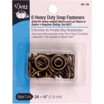 "Antique Brass - Heavy-Duty Snap Fasteners 5/8"" 6/Pkg"