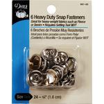 """Nickel - Heavy-Duty Snap Fasteners 5/8"""" 6/Pkg"""