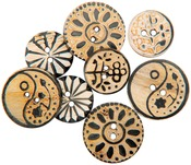Carved Circle Designs 8/Pkg - Handmade Bone Buttons