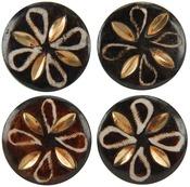 Petal Pattern - Circle 4/Pkg - Handmade Bone Buttons
