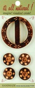 Carved Circles 5/Pkg - Handmade Wood Buckle & Buttons