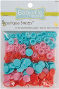 Sweet Stuff Hearts - Red, Pink & Blue - Babyville Boutique Snaps Size 20 60/Pkg