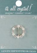 Silver & Pearl - Circle - Genuine Rhinestone Buckle 20mm