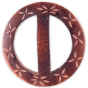 "Carved Flowers Circle 2-1/2"" - Handmade Wood Buckle"