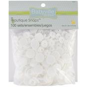 White Size 24 100/Pkg - Babyville Boutique Snaps