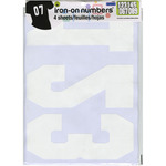 "White - Soft Flock Iron-On Numbers 8"" Athletic"