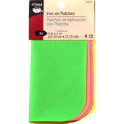 "Assorted Neon - Iron-On Poplin Patches 5""X5"" 4/Pkg"