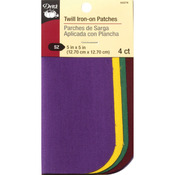 "School Colors - Iron-On Twill Patches 5""X5"" 4/Pkg"