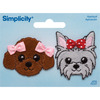 Puppies W/Bows - Simplicity Iron-On Appliques 2/Pkg