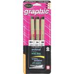 Black - Pigma Graphic Pens Assorted 3/Pkg