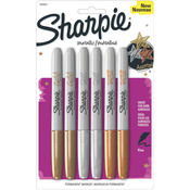 Gold, Silver & Bronze - Sharpie Metallic Fine Point Permanent Markers 6/Pkg