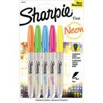 Sharpie Neon Fine Point Permanent Markers 5/Pkg - Orange, Green, Blue, Pink & Ye