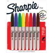 Assorted Colors - Sharpie Fine Point Permanent Markers Carded 8/Pkg