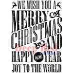Grungy Christmas Wishes - Deep Red Cling Stamp