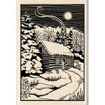 Winter Evening Woodcut - Inkadinkado Christmas Mounted Rubber Stamp