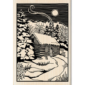 Winter Evening Woodcut - Inkadinkado Christmas Mounted Rubber Stamp