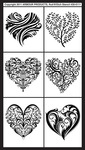 "Fancy Hearts - Rub 'N' Etch Designer Stencils 5""X8"" 1/Pkg"