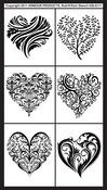 """Fancy Hearts - Rub 'N' Etch Designer Stencils 5""""X8"""" 1/Pkg"""