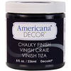 Carbon - Americana Chalky Finish Paint DECO ART-Americana Chalky Finish Paint. Paint that creates a unique, chalky, matte finish that gives pieces an old-world, European look and feel. This multi-surface paint is ideal for use on furniture, cabinets, walls, decorative glass, metal and more. Easy to distress. This package contains one 8oz jar of chalky finish paint. Comes in a variety of paint colors. Each sold separately. Conforms to ASTM D 4236. Non-toxic. Made in USA.