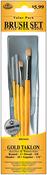 """Round 3 Detail 5 Shader 10 Angle 1/4"""" - Brush Set Value Pack Gold Taklon 4/Pkg"""