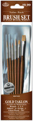 Brush Set Value Pack Gold Taklon 6/Pkg - Rnd 1,3,5 Filbert 4 Scrpt 1 Glz/Wsh 3/8