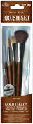 """Mop 3/4"""" Rnd 10 Liner 2 Glaze/Wash 1/2"""" - Brush Set Value Pack Gold Taklon 4/Pkg"""