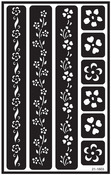 "Flower Border - Over 'N' Over Reusable Glass Etch Stencils 5""X8"" 1/Pkg"