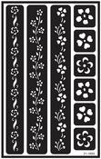"Flower Border - Over 'N' Over Reusable Glass Etch Stencils 5""X8"" 1/Pkg"