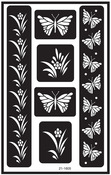 """Butterfly - Over 'N' Over Reusable Glass Etch Stencils 5""""X8"""" 1/Pkg"""