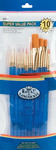 "Brush Set Super Value Pack Gold Taklon 10/Pkg - Flat 5/8"" Dt 3,2,0 Rnd 1,3,5 Shd"