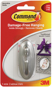 Brushed Nickel 1 Hook and 2 Strips - Command Medium Traditional Hooks