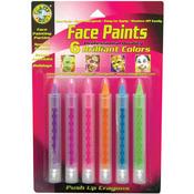 Brilliant - Face Paint Push Up Crayons 6/Pkg