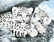 "Snow Leopard Cubs - Paint By Number Kit 14""X11"""