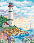"""Lighthouse At Sunrise - Paint By Number Kit 14""""X11"""""""