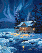 "Moonlit Cabin - Paint By Number Kit 16""X20"""