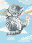 "Hang On Kitty - Paint Works Paint By Number Kit 9""X12"""