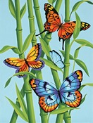 "Butterflies And Bamboo - Learn To Paint! Paint By Number Kit 9""X12"""